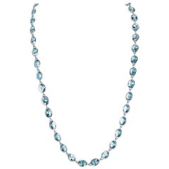 126.04 Carat Oval Blue Topaz White Gold Chain Necklace