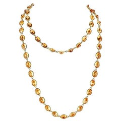 132.51 Carat Oval Citirine Yellow Gold Chain Necklace