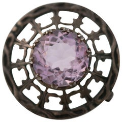 1910s Edwardian 10 Carat Amethyst and Sterling Silver Brooch