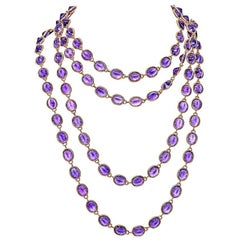 265.76 Carat Amethyst Rose Gold Chain Necklace