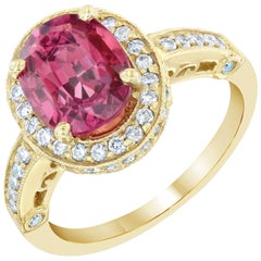 3.16 Carat Tourmaline Diamond Yellow Gold Cocktail Ring