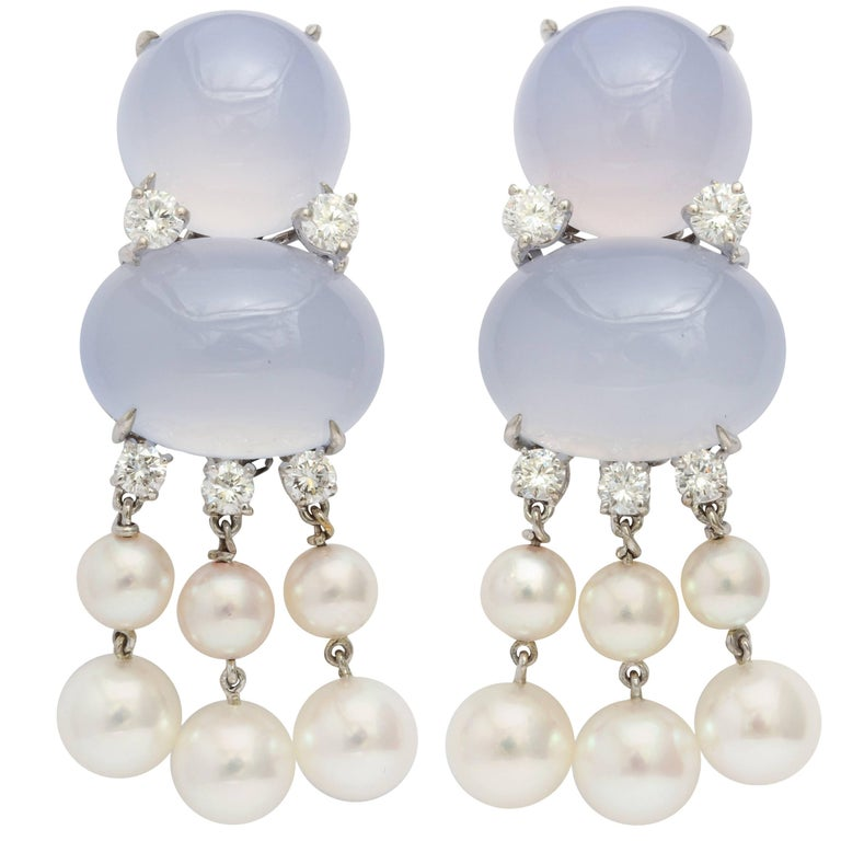 Donna Vock Chalcedony, Pearl and Diamond Clip-On Drop Earrings