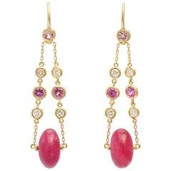 Pink Tourmaline, Diamond and Pink Sapphire Drop Earrings