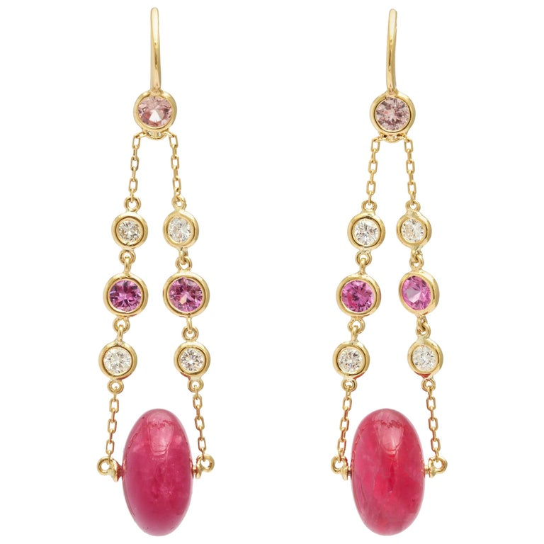 pink tourmaline diamond and pink sapphire drop earrings