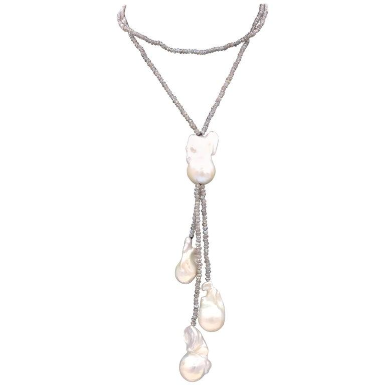 Labradorite and Baroque Pearl Necklace