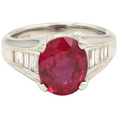 Platinum Red Oval Ruby and Diamond Ring