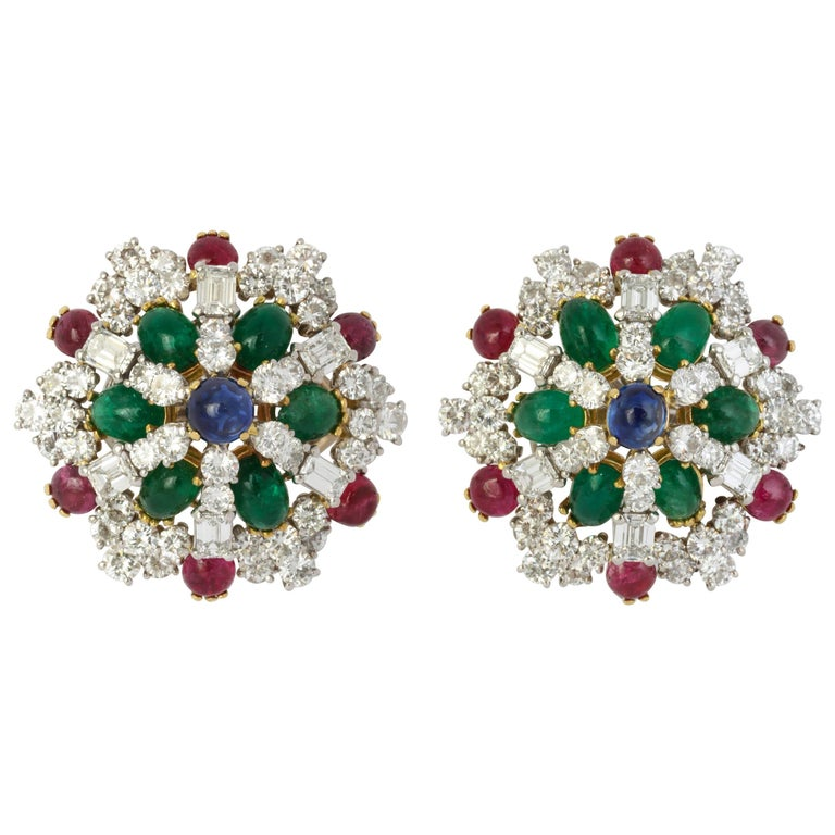 Multi Gem Clip-on Earrings with Sapphire, Emerald, Ruby and Diamonds