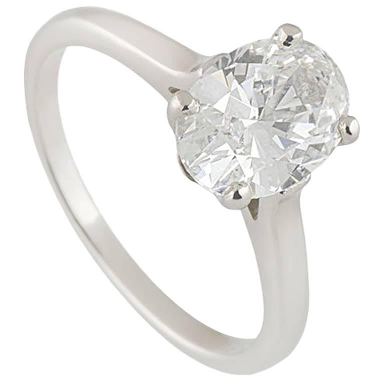 26a45cf24 GIA Certified 1.60 Carat Tiffany & Co. Platinum Oval Cut Diamond Engagement  Ring For Sale