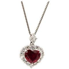 Unheated Mozambique Ruby Heart Diamond Pendant