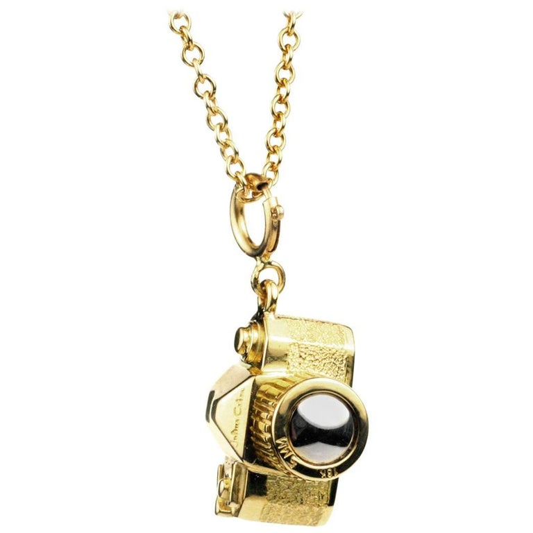 Julius Cohen Gold and Platinum Vintage Camera Charm Necklace