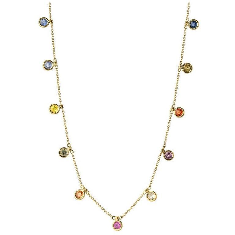 4.95 Carat Multi-Color Bezel Sapphire Necklace, 16 Inches