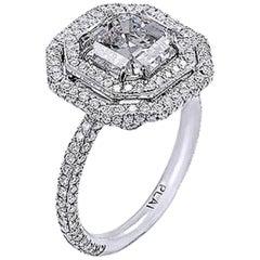 GIA Certified 3.01 Carat Asscher Cut Platinum Engagement Ring