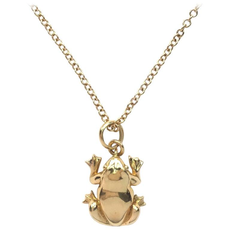 Julius Cohen Gold Frog Charm Necklace