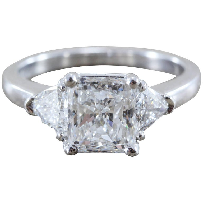 1.73 Carat Diamond Princess Cut D/VS1 Gold Engagement Ring