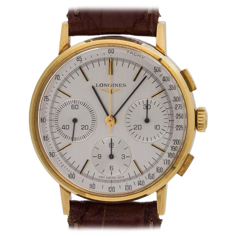 Longines yellow gold Chronograph manual wind wristwatch, circa 1980s