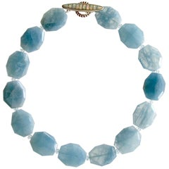 Faceted Aquamarine Nuggets Choker Necklace