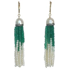 Half Pearl with Diamonds and Green Onyx and Pearl Tassel Earrings by Marina J