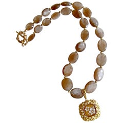 Harlequin Faceted Brown Moonstone with Removable Sardonyx Shell Cameo