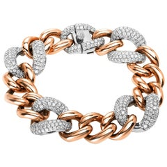 Carlos Udozzo 18 Karat Rose/White Gold Unisex Brilliant-Cut Diamond Bracelet
