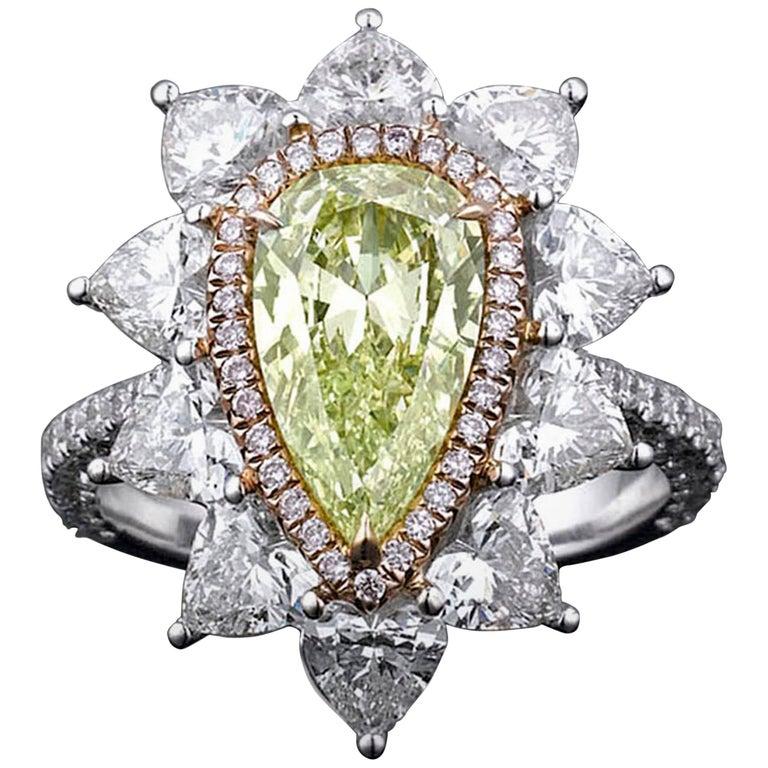 Fancy Intense Yellow Green Diamond Ring, 1.72 Carat For Sale