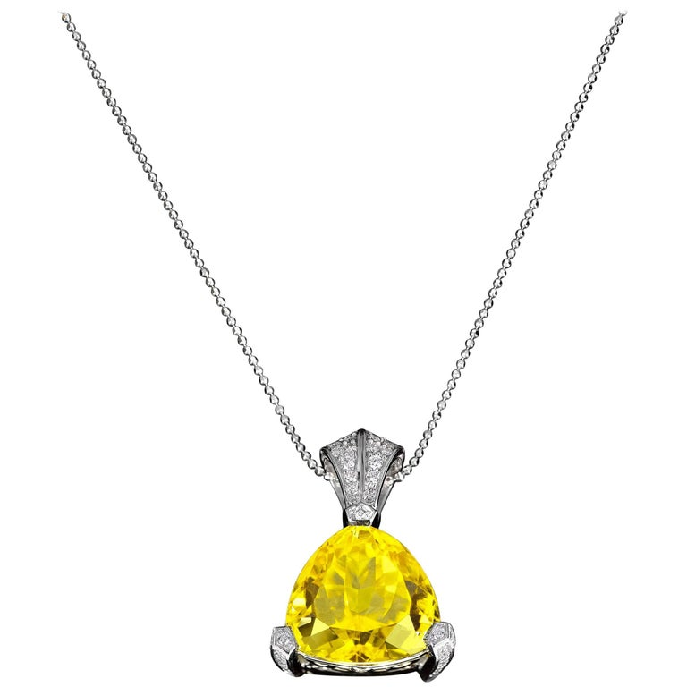 Canary Yellow Tourmaline Pendant, 14.76 Carat For Sale
