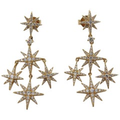 Pair of Rose Gold and Diamond Star Earrings