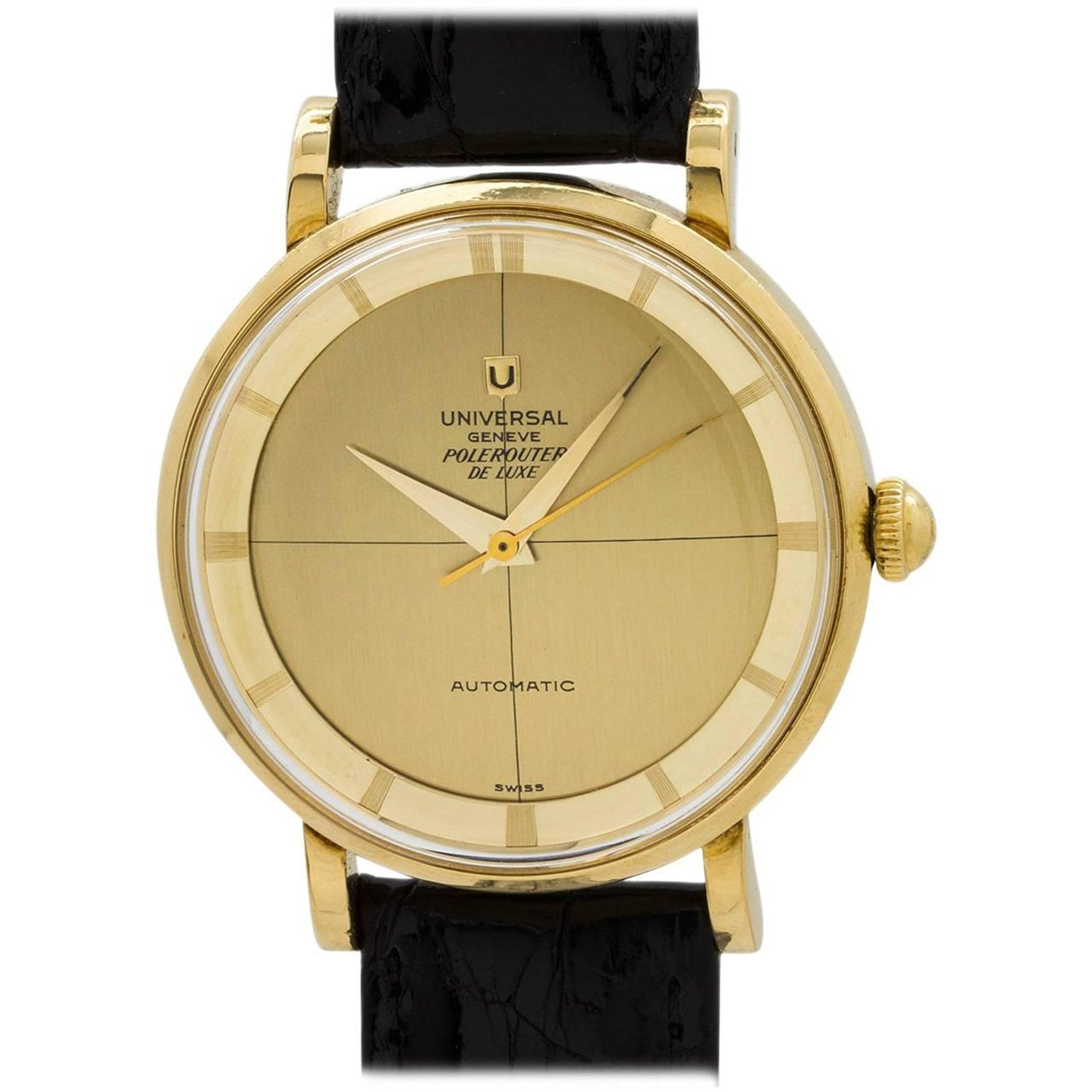Universal Geneve Yellow Gold Pole Router Deluxe Chronometer Wrisch 1960s