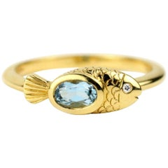 Julius Cohen Gold and Aquamarine Fish Ring