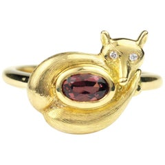 Julius Cohen Gold and Garnet Fox Ring