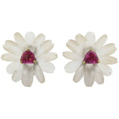 Paloma Picasso, Tiffany & Co. Frosted Rock Crystal and Pink Tourmaline Earrings
