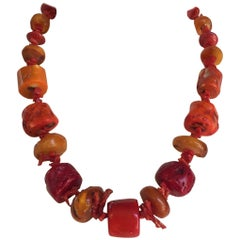 Coral and Amber Beaded Necklace by Marina J