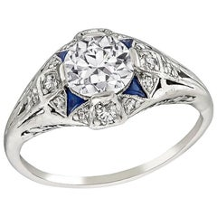 Art Deco GIA Certified 0.86 Carat Diamond Sapphire Ring