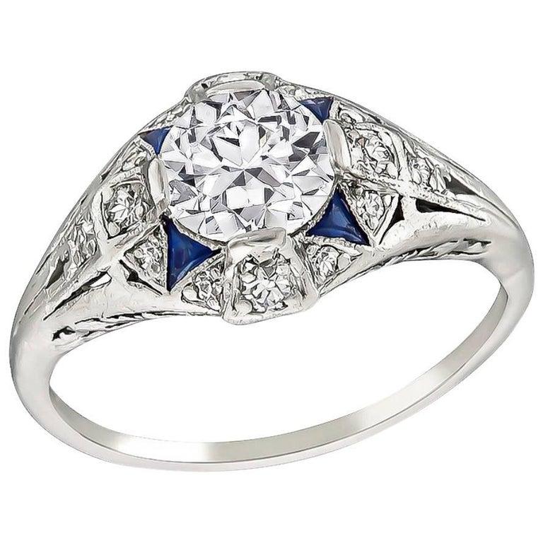 Art Deco GIA Certified 0.86 Carat Diamond Sapphire Ring