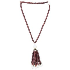 Garnet Tassel and Fresh Water Pearls