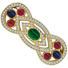 Emerald Sapphire Ruby Diamond Gold Pin
