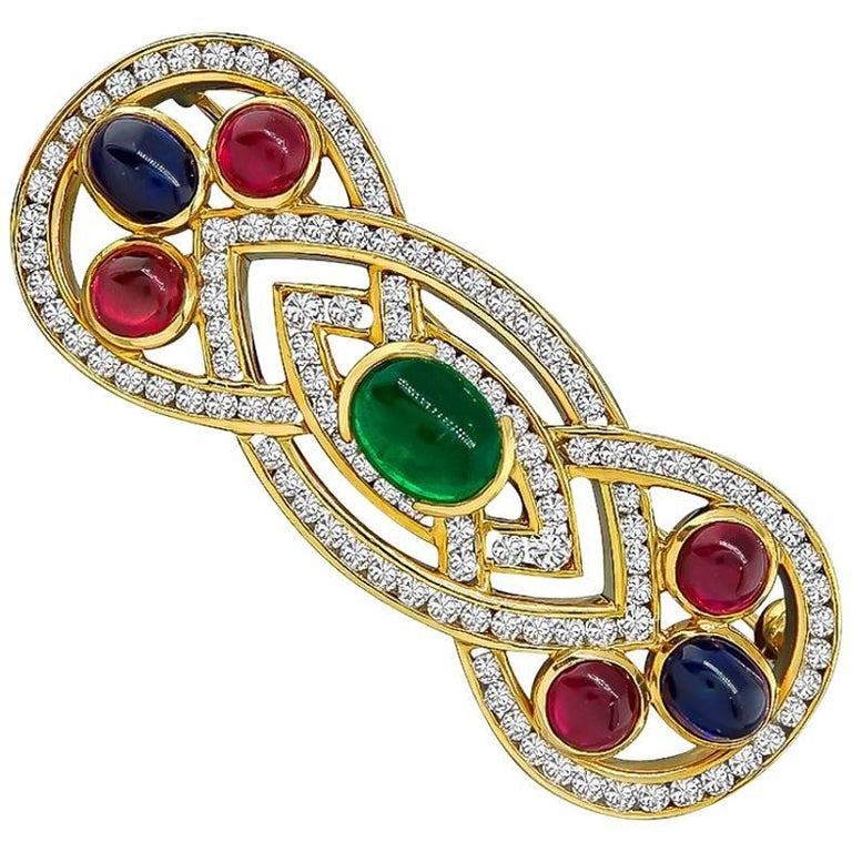 Emerald Sapphire Ruby Diamond Gold Pin For Sale