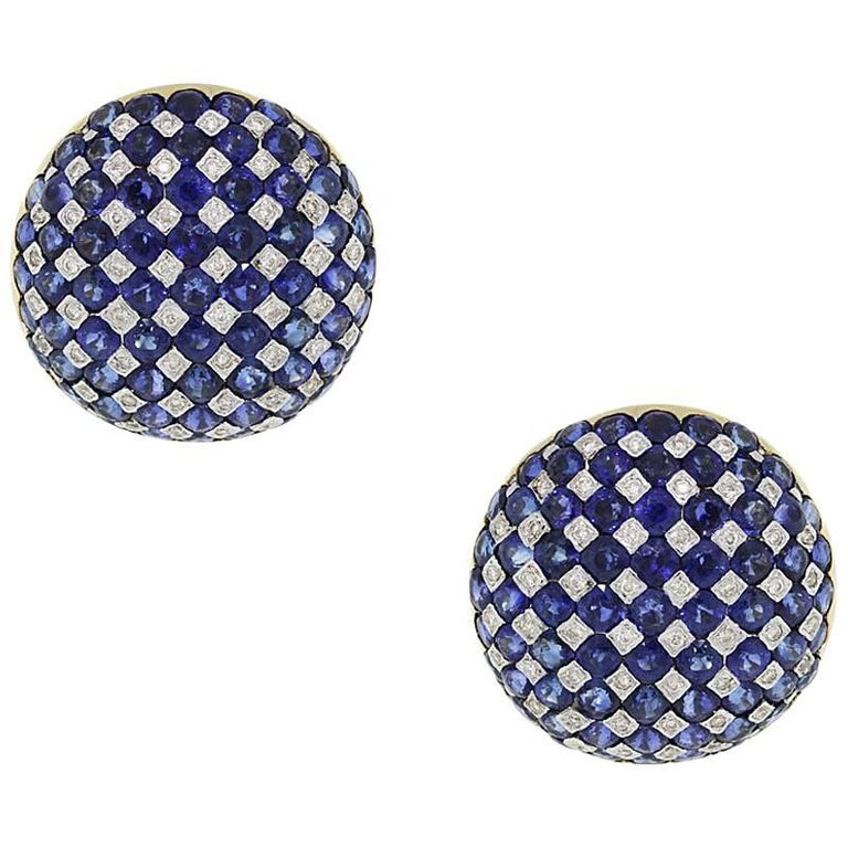 Sapphire and Diamond Checkerboard Ear Clips
