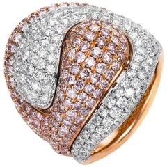 Carlos Udozzo 18 Karat Rose/White Gold Pink Diamonds Ladies Statement Ring
