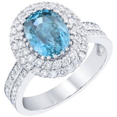 4.49 Carat Blue Zircon Diamond Ring