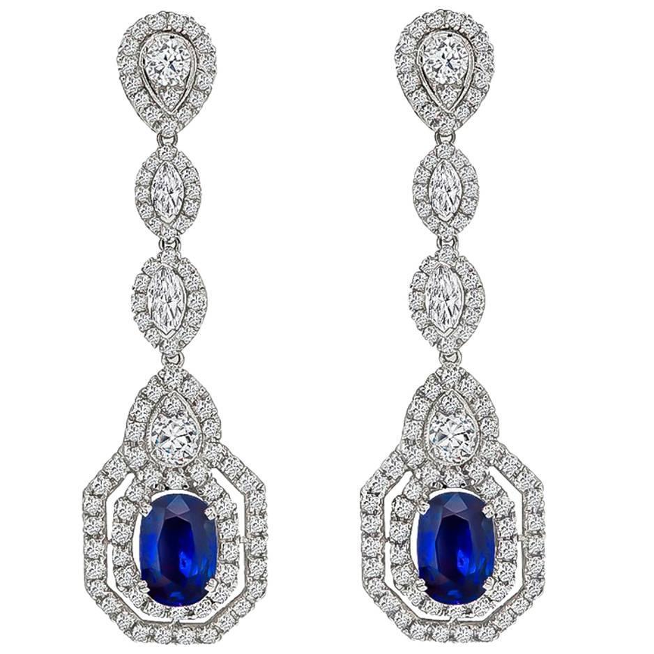 Amazing Sapphire Diamond Gold Drop Earrings