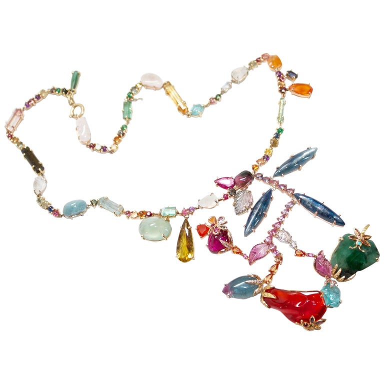 Multicolored Gemstone and Diamond Reeni Corsage Necklace 1