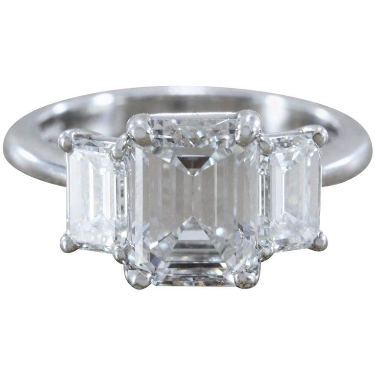 2.28 Carat Diamond Emerald Cut E/VVS Platinum Engagement Ring For Sale