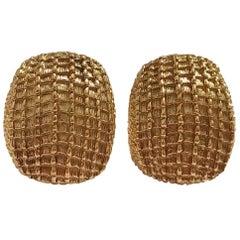 David Webb Yellow Gold Rectangle Stud Earring