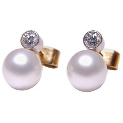 Diamond and Cultured Pearl Two-Stone Stud Earrings