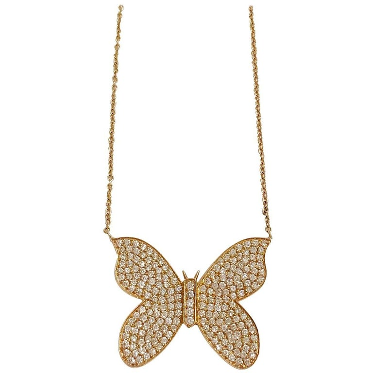 Yellow Gold Butterfly Necklace with Pave Diamonds
