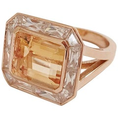 Imperial Topaz Rose Gold Ring with Rock Crystal Baguettes