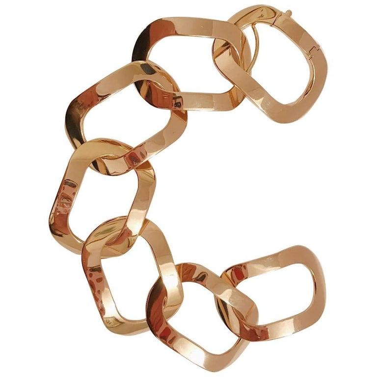 18 Karat Rose Gold Oval Link Bracelet