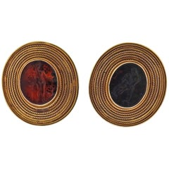 Ancient Roman Bloodstone Intaglio Gold Cufflinks