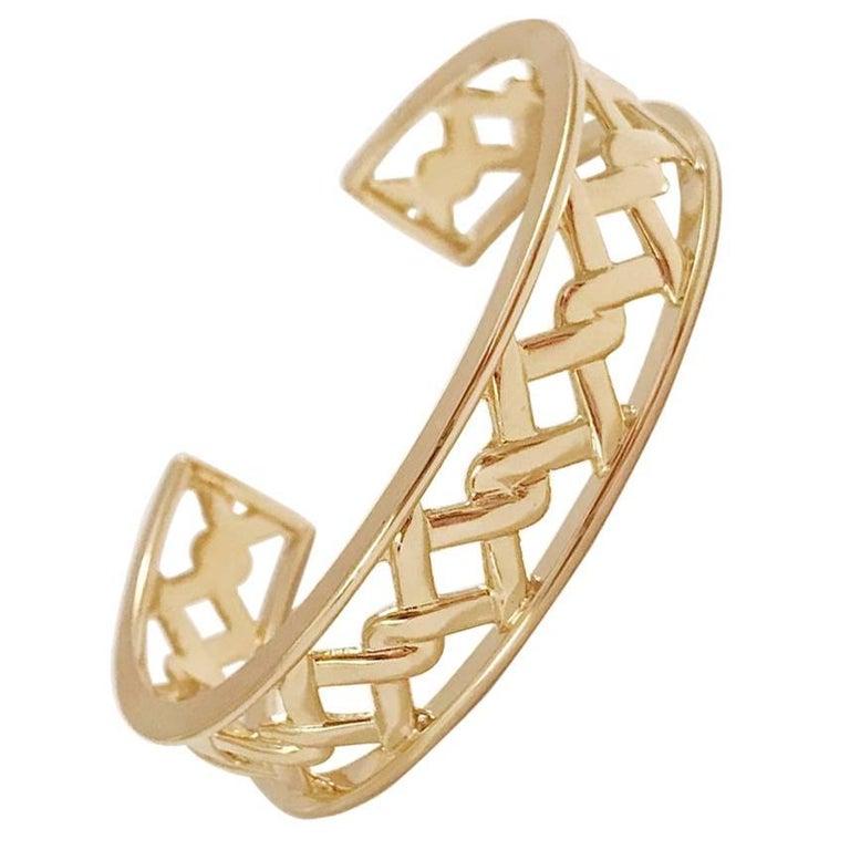 18 Karat Yellow Gold Mini Ordaned Cuff Bracelet