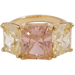Yellow Gold Zircon Mini Emerald Cut Ring